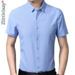 slim fit casual plaid luxury short sleeve shirt