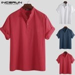 Cotton Button Stand Collar Loose Short Sleeve Shirts