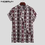 Cotton Button Up Stand Collar Loose Short Sleeve Vintage Shirts