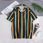 Fashion Loose Casual Striped Beach Short Sleeve Shirts