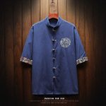 Fashion cotton linen slim fit Stand collar Casual short sleeve shirts