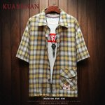 Casual Slim Fit Plaid  Dog Printed Short Sleeve Shirt