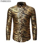 Zebra Print  Slim Fit Long Sleeve Dress Shirts