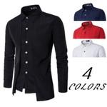 Casual Slim Fit Shirts Long Sleeve Turn-down Collar Dress Shirts