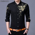 Flower Slim Fit Long Sleeve Button Down Casual Dress Shirts