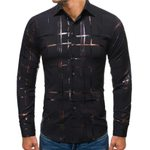 Stamped Turn-down Collar Long Sleeve Dress Shirt
