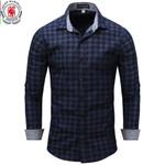 Casual Denim Style  Long Sleeve Plaid Dress Shirt