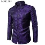 Floral Print Silk Fashion Slim Fit Long Sleeve Dress Shirts
