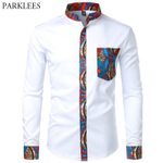 Fashion Contrast Casual Slim Fit Long Sleeve Pocket Dress Shirts
