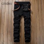 zipper knee knocked hole fabric elastic skinny ripped jeans