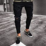 Skinny Slim Straight Zipper Bottom Fashion Ripped Jeans