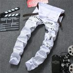 Classic letter printed casual slim trousers Cowboys jeans