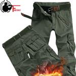 Thick Cargo Pocket Military Warm Fleece Pants