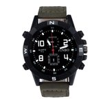 Quartz Wrist Canvas Strap Bump Dial Military Sport Watch