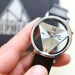 Leather Band Stainless Steel Sport Analog Quartz Wrist Fashion Watch