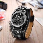 PU leather Wrist Bracelet Biker Metal Fashion Skull Cover Quartz Watch