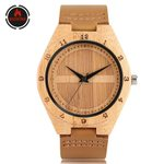 Genuine Leather Watchband Quartz Classic Logo Wood Watches