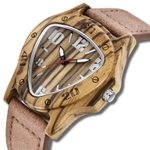 Cool Quartz Genuine Leather Creative Inverted Triangle Wood Watch