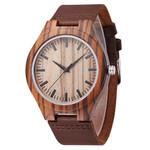 Round Faux Leather Watchband Analog Quartz Fashion Wooden Watch