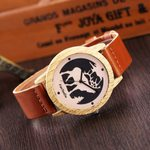 Luxury Leather pattern dot scale wooden watch