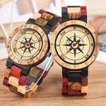 Wrist Quartz Luxury Royal Compass Dial Wood Watch