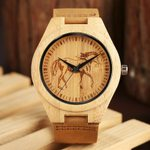 Trendy Bamboo Soft Genuine Leather Wood Watch