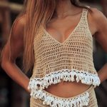 crochet knitted  V neck crop Vintage Tassel shell tank top