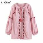 Vintage  floral embroidery striped v-neck lace-up cotton blouse