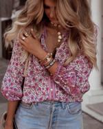 long sleeve Vintage floral printed v-neck lace-up blouse