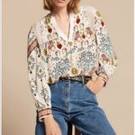 Fashion Hollow Out V Neckline Long Sleeve Blouse