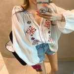 Long sleeve loose  Tassel floral embroidery linen cotton blouse