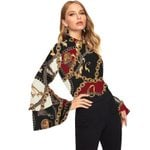 printed chiffon fashion stand collar long flare sleeve shirt