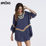 3/4 Sleeve Loose Tunic  Knitted Crochet Lace Blouses