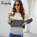 Slim Knitted Long Sleeve Pullovers Patchwork Boho Sweaters
