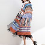 ethnic stripe long sleeve knitted long cardigan boho sweater
