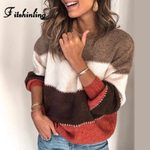 Casual Pullover Lantern Sleeve Knitting Patchwork Slim Boho Sweater