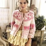 cardigans warm Rose button knitted Balloon long sleeve boho sweater