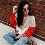 Casual Loose Basic Pullover Knitwear Patchwork Boho Sweaters