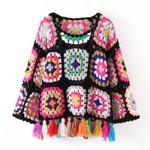 pullover Hand-knit openwork tassel ethnic boho sweater