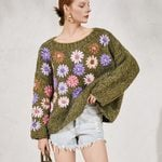 pullover floral long sleeve warm loose  boho sweater