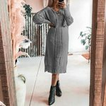 Long Robe Knitted Elegant Basic Fashion Hollow Out Boho Sweater