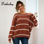 Slim Pullover Knitted Casual Loose Striped Boho Sweater