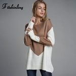 Knitting Patchwork Pullovers Long Sleeve Slim Boho Sweater