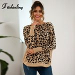 Slim Long Sleeve Leopard Knitting Boho Sweater