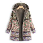 Fur Hood  Thick Fleece Fashion Warm Boho Coat