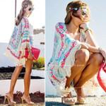 Retro Floral Lace Cardigan Tassel Hippie Boho Coat