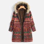 Fur Hood hick Fleece Fashion  Warm Boho Coat