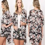 Loose Chiffon Kimono Floral Long Cover Up Boho Coats