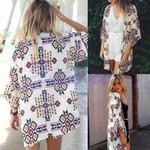Sexy Chiffon Geometry Loose Shawl Kimono Stylish Boho Coat