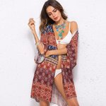 Vintage Print Beach Long Elegant Kimono